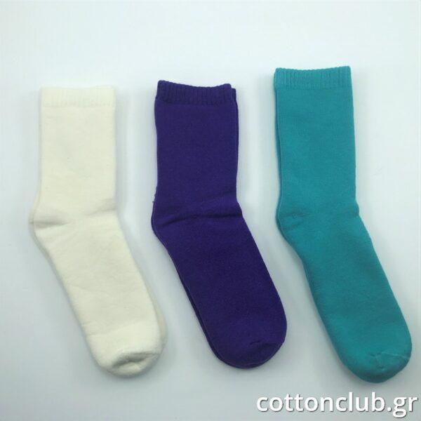 Παιδική Κάλτσα Πετσετέ 3 Ζευγάρια Μονόχρωμα Εκρού- Μώβ- Τιρκουάζ Ηλικία 9-11 Νούμερο 35-38