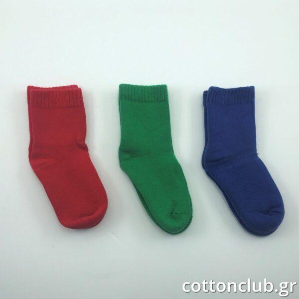 Παιδική Κάλτσα Πετσετέ 3 Ζευγάρια Μονόχρωμα Κόκκινο- Πράσινο- Μπλέ Ηλικία 7-9 Νούμερο 31-34