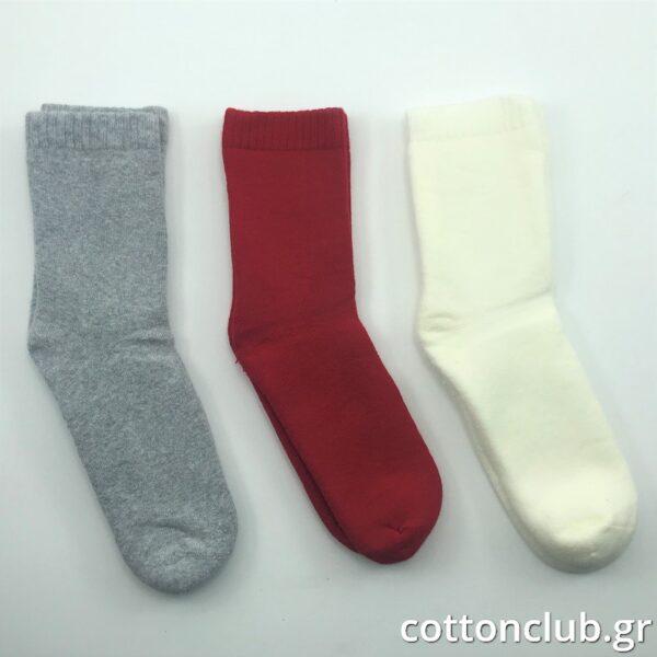 Παιδική Κάλτσα Πετσετέ 3 Ζευγάρια Μονόχρωμα Γκρί- Κόκκινο- Εκρού Ηλικία 7-9 Νούμερο 31-34